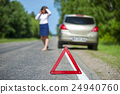 Red triangle sign and broken car on the roadside 24940760