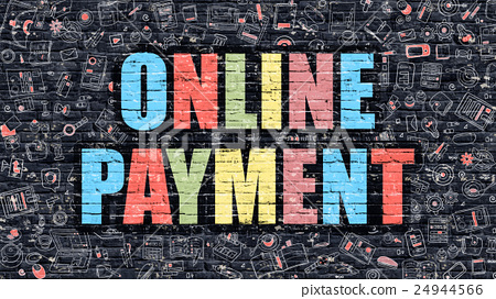 Online Payment on Dark Brick Wall. 24944566