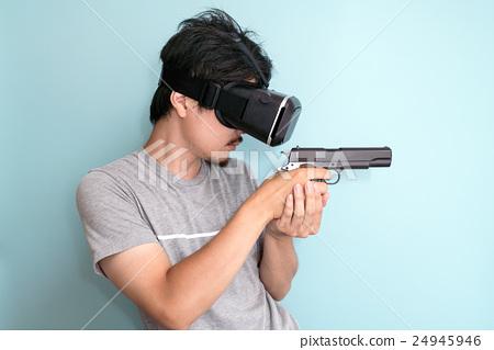 VR, men with guns - Stock Photo [24945946] - PIXTA