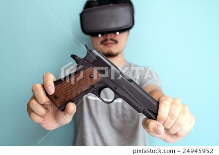 VR, men with guns - Stock Photo [24945952] - PIXTA