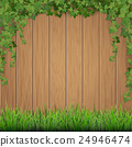 Grass and hanging ivy on wooden background. 24946474