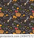 Mushroom hand drawn sketch Seamless Pattern Vector 24947572