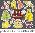 Autumn season clothes set. Hand drawn doodles 24947581