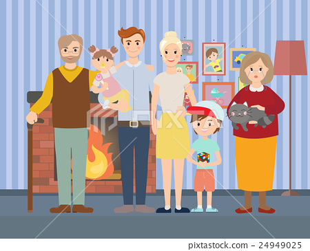 Big modern family at home vector illustration 24949025