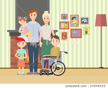 Portrait of happy family with special needs child 24949429