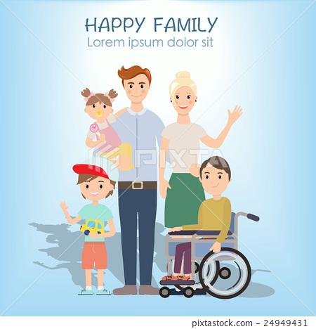 Portrait of four member happy family posing 24949431