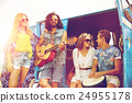happy hippie friends playing music over minivan 24955178