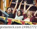 Friends Carnival Ride Fun Hands Raised Concept 24962772