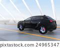 아치교로 주행하는 블랙의 전기 자동차 SUV 24965347