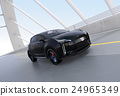 아치교로 주행하는 블랙의 전기 자동차 SUV 24965349