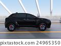 아치교로 주행하는 블랙의 전기 자동차 SUV 24965350