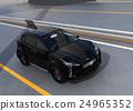 아치교로 주행하는 블랙의 전기 자동차 SUV 24965352