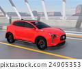 아치교로 주행하는 빨간색 전기 자동차 SUV 24965353