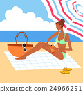 海灘 比基尼 太陽傘 24966251