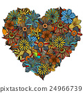 Hand drawn Heart of flower 24966739