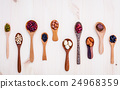 Assortment of beans and lentils in wooden spoon  24968359