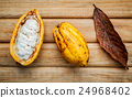 Ripe Indonesia  cocoa  setup on rustic wooden . 24968402