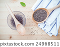Nutritious chia seeds in glass bowl. 24968511
