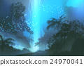 blue waterfall in forest,landscape painting 24970041