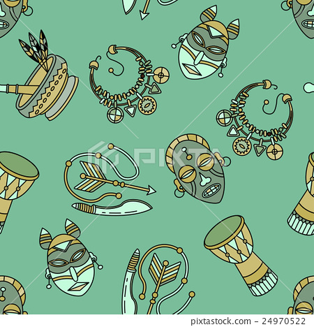 Seamless pattern with voodoo symbols. 24970522