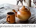 Tea Kettle on wood table 24975516