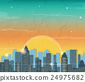 Silhouette of the city at sunrise. Vector 24975682