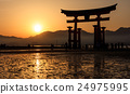 Silhouette of floating Torii, Miyajima, Japan 24975995