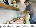 Father Daughter Preparation Baking Kitchen Concept 24990463