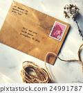Letter Envelope Postage Stamp Flower Concept 24991787