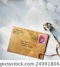 Letter Envelope Postage Stamp Flower Concept 24991804