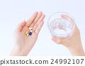 약, 알약, 물, 여성, 손 24992107