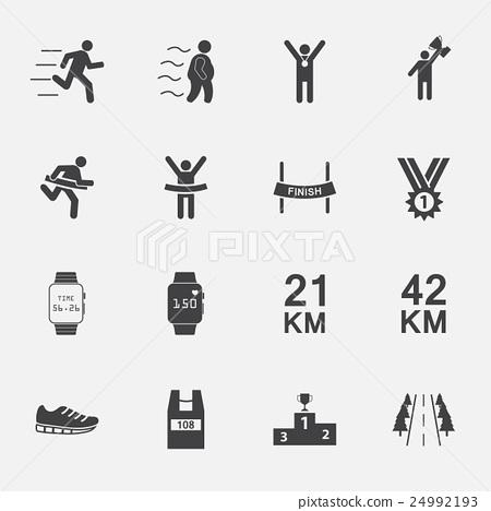 human run icons set.vector. 24992193