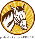 White Horse Head Sunburst Circle Woodcut 24995231