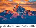 Mountains with snow ridge fron Himalaya view point 24997002