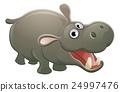 hippopotamus, cute, vector 24997476