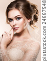Beautiful bride with fashion wedding hairstyle - 24997548