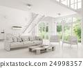 Modern white living room interior 3d rendering 24998357