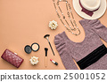 Fashion Stylish Set. Top view. Essentials Cosmetic 25001052