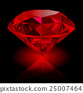 Realistic red ruby isolated on black background 25007464