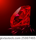 Realistic red ruby isolated on black background 25007465