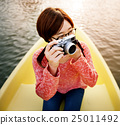 Girl Adventure Boat Trip Traveling Holiday Photography Concept 25011492