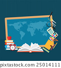 Education design background with world map. 25014111