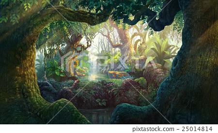 Fantasy inside forest background painting 25014814