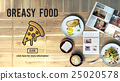 Pizza Icon Fast food Unhealthy Snacks Calories Fat Concept 25020578