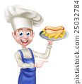 Cartoon Chef With Hot Dog Pointing 25032784