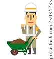 construction worker, wheelbarrow, vectors 25034235
