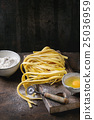 Raw homemade pasta tagliatelle 25036959