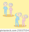 cartoon old couple doing excercise 25037554