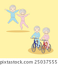 cartoon old couple doing excercise 25037555