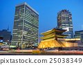 Namdaemun Gate and city skyline at night, Seoul, South Korea 25038349